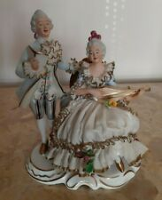 Groupe sujet  personnage figurine couple en porcelaine de Saxe de Dresden