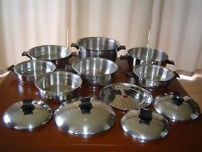 12 pc RENA WARE 3 PLY STAINLESS STEEL SAUCEPANS, FRYPAN, LIDS ETC EX CONDITION