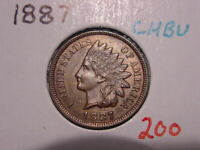 1887 INDIAN HEAD CENT CHOICE BU RB NICE ATTRACTIVE COIN COMBINED SHIPPING