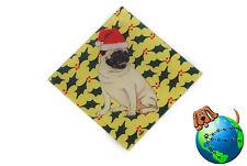 Pug Dog Crystal Glass Holiday Christmas Ornament Fawn