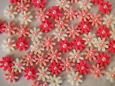 50 x mini flowers CUPCAKE TOPPERS edible cake decorations BIRTHDAY baby shower