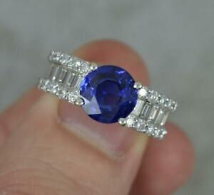 Impressive Blue Sapphire and 1.1ct Vs Diamond 18ct Gold Cluster Ring