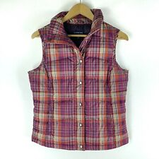 Lands' End Women Size XS Check Plaid Snap Button Down Puffer Vest Pink Orange