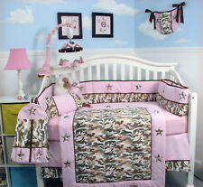 Khaki & Light Pink Camo Baby Crib Nursery Bedding 13 pcs Set included Diaper Bag