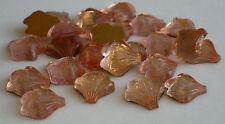 24 Vintage Glass Rhinestones Pink Textured Leaf/Shell Foil FB German 14mm A4-1B