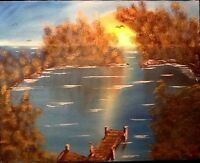 Original Seascape Oil Painting Signed KDS Retro Lake Dock Peninsula VTG Sunset