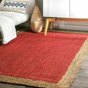 Jute Rug Natural Braided Handmade 2x3 Feet Reversible Red Rustic Look Area Rug