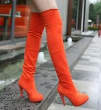 Sexy women knee high boot heel stiletto Suede Pull On Casual party platform shoe