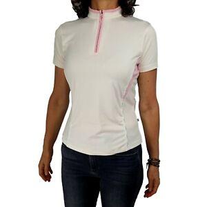 BURBERRY GOLF M* XS/S Fit Cream Pink 1/4 Zip Plaid Nova Check Trim Polo Knit Top