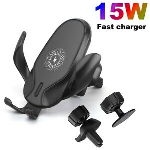15W Fast Qi Wireless Car Charger Dock Bracket For iPhone 11 8 XS Samsung S20 S10