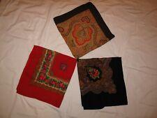 Vintage Chechoslovakia Handblocked Print Shawl scarf, babushka, flower wrap