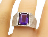 925 Sterling Silver - Vintage Amethyst Square Dome Large Band Ring Sz 11- R17374