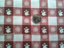 Christmas Holidays 100% cotton Fabric Pink, Red and White Squares Snowmen