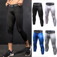 Men's Compression 3/4 Tights Basketball Athletic Under Base Layer Gym Bottoms