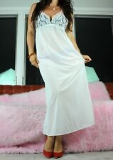 VTG Sheer White Soft Nylon Lacy Mesh Bust Long Nightgown Full Slip Dress sz S/M