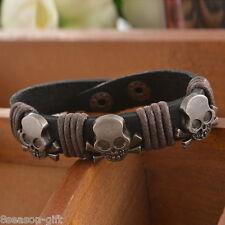 HX 1PC Women/Men`s Leather Skull Bracelet Charm Punk Jewelry Cuff Adjustable