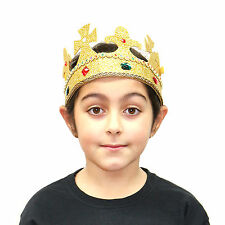 Kids & Adults Gold Golden Felt King Queen Crown Jewels (WORLD BOOK DAY WEEK)