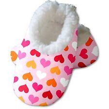 Snoozies Baby's Fleece Lined Footies, White with Rainbow Hearts Small, 0-3m