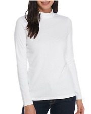 Kim Rogers Cotton Fine Ribbed Mock Neck L/S Top XL White  Msrp. $26.