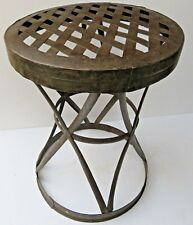 Vtg iron strip revated hand made garden & outdoor patio round table stool India