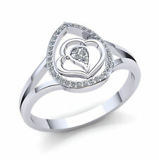 Heart Right Hand Ring 18K Gold 1ctw Round Brilliant Cut Diamond Ladies Shared