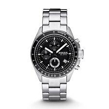 Fossil Herren-Armbanduhr CH2600IE Chronograph Edelstahl Decker Silber Schwarz