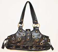 BoHo Hippie CHIC Black Grommet Studs Accent HoBo Tote Shoulder Purse Hand Bag S