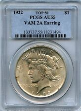 C4671- 1922 VAM-2A EARRING TOP 50 PEACE DOLLAR PCGS AU55