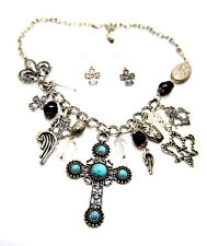 Turquoise Cross Pendant Necklace crystals beads Silver antique finish