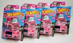 BARBIE DREAM CAMPER * LOT OF 4 * 2021 HOT WHEELS * PINK FIRST EDITION
