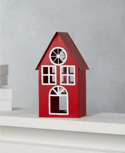 "Martha Stewart Red Farmhouse Holidays Iron House 9"" H"