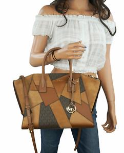 Michael Kors Avril Large Top Zip Satchel Shoulder Crossbody Bag MK Brown Multi