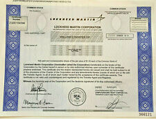 Lockheed Martin defense and aerospace company stock certificate