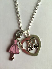 "BALLERINA NECKLACE BALLET DANCE 18"" Silver Plated Chain lovely present  Gift Bag"