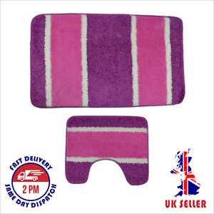 Bath Mat Set pack of 2, Non, Anti Slip, Soft, Made in Turkey -Star/Stripe