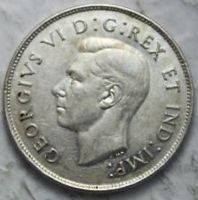Canada 1947 Silver 50 Cents, Straight 7 Left Variety, Nice Grade, Old Date KGVI