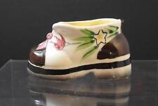 """Vintage Pottery Flower Floral Shoe Vase Sign Hand Decorated Florart 4 3/4"""" GD19"""