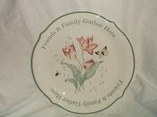"""Lenox BUTTERFLY MEADOW Friends & Family Gather Here Sandwich Cake Plate 12"""""""