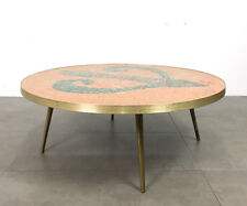 Vintage Round Mosaic Tile Br Coffee Tail Table Mid Century Modern Italian