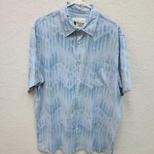 Vintage Silk Circa 1969 Men's XXL Blue 100% Silk Short Sleeve Button Down Shirt