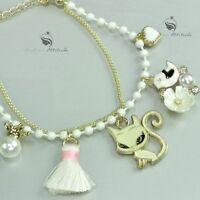 18k yellow gold gp cat rainbow bird heart dress pearl mushroom charm bracelet