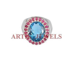 Natural Blue Topaz & Ruby Gemstone with 925 Sterling Silver Ring for Men's #2714