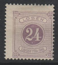 Sweden - 1886, 24 ore Purple Postage Due stamp - Perf 13 - M/M - SG D34c