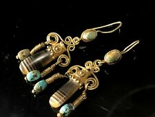Ancient Antique 3 Century AD Gold Sasanian Pre Islamic Earrings Turquoise Agate