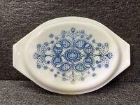 VTG Pyrex REPLC Casserole Dish Lid 945C 20 Blue Doily Pat. 13x8.5 Milk Glass