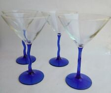 """New listing Large Bowl Martini Glasses Blue Stemmed Cocktail Glasses 8"""" Tall by 5"""