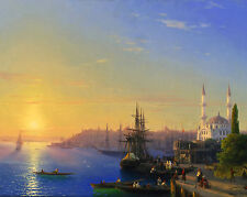 View of Constantinople Ship Sea Scape Ocean Painting Art Real Canvas Print