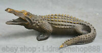"9,6 ""Vieux Bronze Chinois Feng Shui Animal Lacoste Alligator Statue de crocodile"