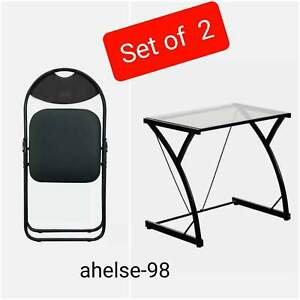 2 Piece Glass Laptop Desk Computer Office Table &Padded Folding Chair Black
