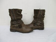Matisse Brown Leather Zip Studded Strap Buckle Mid Calf Boots Womens Size 6.5 M